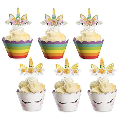 amasky Unicorn Cupcake Toppers, Cupcake Toppers and Wrappers
