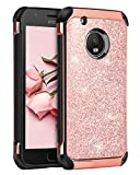 Moto E4 Case, BENTOBEN Luxury Sleek Bling Glitter Sparkly Cute Shiny Shockproof Slim 2 in 1 Soft TPU Bumper Hybrid Hard PC with PU Faux Leather Protective Phone Cover for Motorola Moto E4, Rose Gold