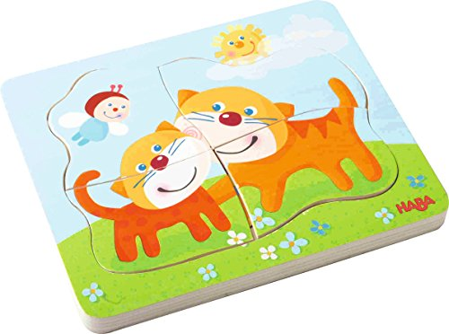 HABA Cuddly Kitties Wooden Puzzle with Four Layers of Feline Fun - 10 Pieces in All - Ages 2 and Up ()
