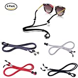 Auony Eyeglasses Chains,4 Pack Premium Leather Eyewear Retainer Glasses Holder Strap Cord Sunglass String Holder Cords with Glasses Cleaning Cloth
