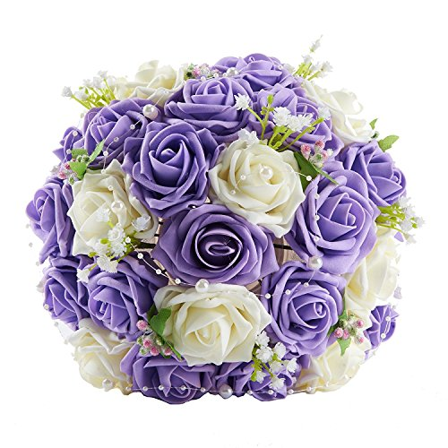 SISJULY Lace Pearl Rose Holding Wedding Bridesmaid Bouquet with Flower(Purple+White) (Lace Bouquet Wedding)