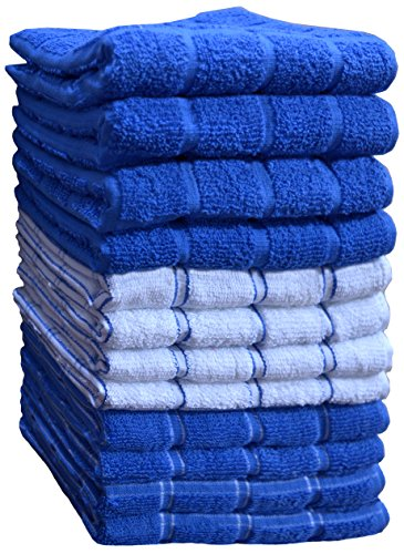 Kitchen Towels (12 Pack, 15X25 Inch) 100% Premium Cotton, Machine Washable Extra Soft Set of 12, 3 Designs Dobby Weave Kitchen Dish Cloths, Tea Towels, Bar Towels, Blue - By HomeLabels
