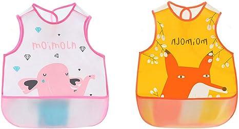 Irypulse Pack de 2 Baberos de Sin manga Alimentación Impermeable para Bebé 0-3 Años, EVA Material Con Bolsillo Para Pintura Comer Jugar Rosa/Naranja: Amazon.es: Bebé