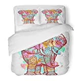 SanChic Duvet Cover Set Color Elephant Design Modern Creative Splashes Symbol Meditation Wild Nature Holi Festival Decorative Bedding Set Pillow Sham Twin Size
