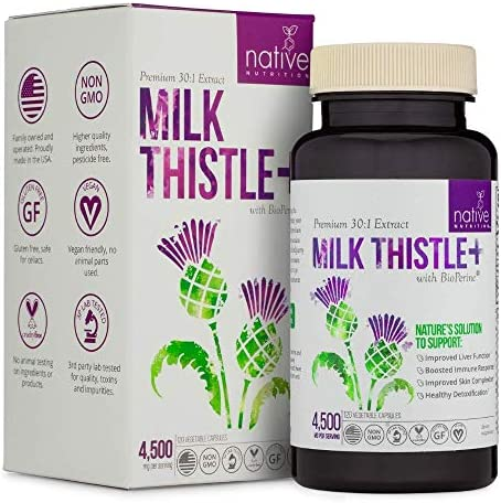 Organic Milk Thistle Herbal Supplement – Premium 30 1 Milk Thistle Capsules – 4500 MG with Bioperine for Max Absorption, 120 Vegetable Pills by Native-Nutrition