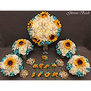Teal, Turquoise,and Yellow Sunflower Bridal Bouquets Wedding Flower 18 piece package with BEADED LILIES and silk Roses~ Corsages and Boutonnieres. Unique French beaded flowers. Ivory/Cream and gold 25