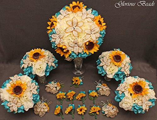 Teal, Turquoise,and Yellow Sunflower Bridal Bouquets Wedding Flower 18 piece package with BEADED LILIES and silk Roses~ Corsages and Boutonnieres. Unique French beaded flowers. Ivory/Cream and gold
