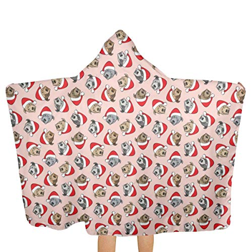 Oversized Hooded Baby Towel Bathrobe Scale All Pit Bulls Santa Hats Christmas Dog Pink Beach Bath Towel Toddler Swim Pool Coverup Poncho Cape for Kids Children Teenager