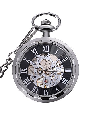 Mudder Antique Skeleton Mechanical Automatic Hand Wind Pocket Watch