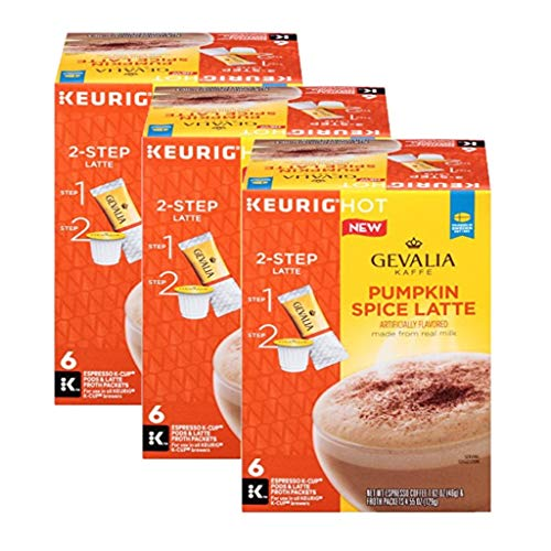 GEVALIA Pumpkin Spice Latte, Espresso K-CUP Pods and Latte Froth Packets, 6 Count (Pack of 3)