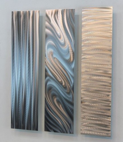 Metal Abstract Modern Silver Wall Art Sculpture - Three Piece Set of Contemporary Wall Decor - Stylish Trio By Jon Allen - 24