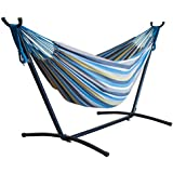 Driftsun Double Hammock with Steel Stand - Space Saving Two Person Lawn and Patio Portable Hammock with Tavel Case (Striped Paradise)