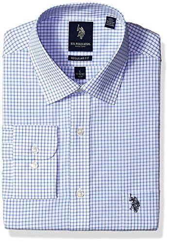 U.S. Polo Assn. Men's Regular Fit Check Semi Spread Collar Dress Shirt