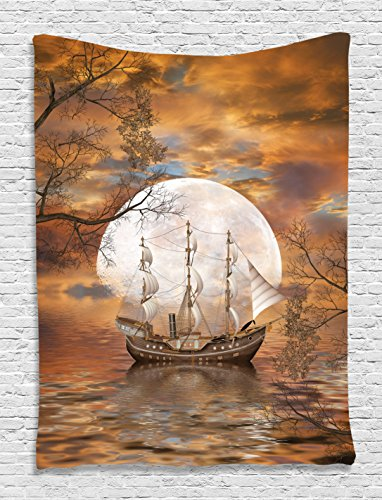 (Ambesonne Sailboat Art Trippy Tapestry Full Moon Fairy Scene with Modern Abstract Paintings Wall Hanging for Living Room Bedroom Teens Dorm Decor Accessories Washable Satin, Orange Gray White )