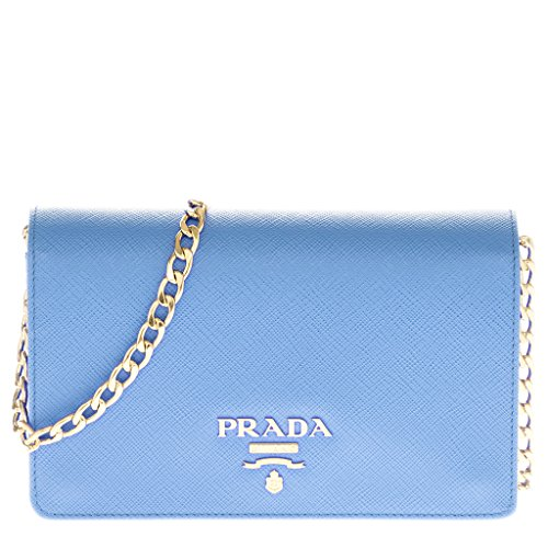 Prada Women's Saffiano Lux Chain Crossbody Bag Baby Blue (Blue Handbag Prada)