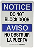 Brady 124986 Bilingual Sign, Legend'Do Not Block Door/No Obstruir La Puerta', 14' Height, 10' Weight, Black and Blue on White