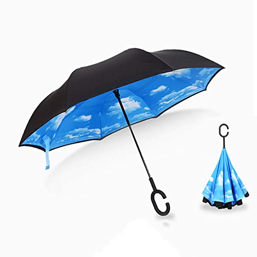 Jenify Paraguas inverso Plegable Doble Capa Invertida a Prueba de ...