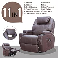 Massage Recliner Sofa Chair Ergonomic Deluxe Lounge Swivel Heated Control Brown