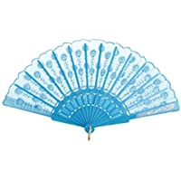 Shineweb Flowers Embroidery Lace Handheld Folding Fans For Girls Women