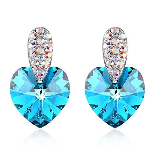 Heart Earrings Woman Birthday Crystal Stud Earrings Drop Earrings