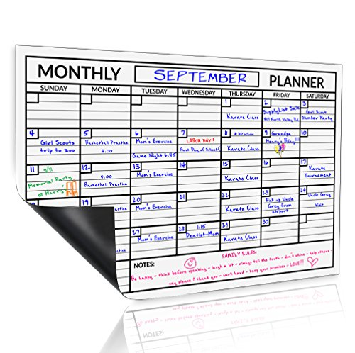 Monthly Magnetic Fridge Calendar Magnets 17 X 11 Inches, Dry Erase Board Calendar Flexible Reusable Planning Organizer Refrigerator Magnet for Mom and Family