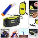 Camping/ Hiking/ Fishing/ Biking/ Hunting Gear Survival Equipment Kit - Includes Hand Crank Dynamo Powered Rainproof 2 & 3 LED Flashlights / fuel less Fire igniter / Compass / whistle / - Digital Solar & Dynamo AM/FM Radio / Alarm Clock / Cell Phone Charger- Jumbl Personal Water Purifier and Filter Straw