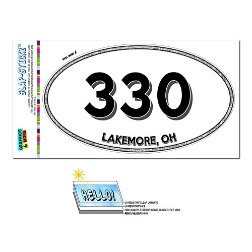 Graphics and More Area Code Oval Window Laminated Sticker 330 Ohio OH Harlem Springs - North Lima - Lakemore