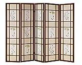 5 panel divider - Hongville Shoji Floral Prints Screen Design Wood Framed Room Divider , Cherry, 5 Panel