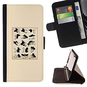 For HTC One M8 Case , Los signos de Títeres de sombra minimalista- la tarjeta de Crédito Slots PU Funda de cuero Monedero caso cubierta de piel