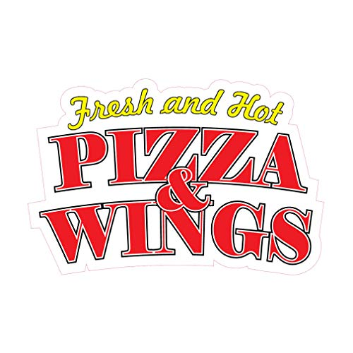 Wing Hot Pizza - Die-Cut Sticker Multiple Sizes Fresh and Hot Pizza & Wings Restaurant & Food Fresh and Hot Pizza Indoor Decal Concession Sign Red - 48in Longest Side