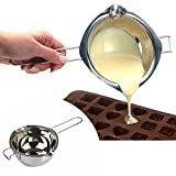 LI-GELISI 18/8 Stainless Steel Universal Melting Pot, Double Boiler Insert, Double Spouts, Heat-resistant Handle, Flat Bottom, Melted Butter Chocolate Cheese Caramel Homemade Mask =500ML (Silvery)