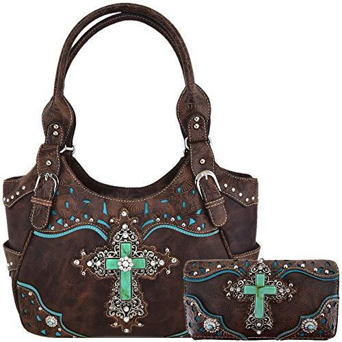 Western Rhinestone Cross Tooled Leather Totes Concealed Carry Purse Handbag Women Shoulder Bag Wallet Set (#2 Coffee Set)