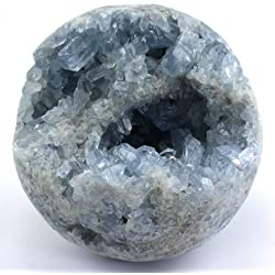 Crystal Allies Specimens: Natural Blue Celestite Sphere w/ Authentic Crystal Allies Stone Card