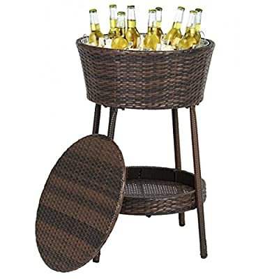 Best Choice Products Wicker Ice Bucket Outdoor Patio Furniture All-Weather Beverage Cooler with Tray