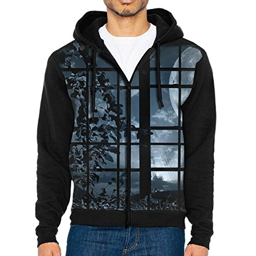 Men's Casual Garb Hoodies,Bright Night Full Zip Hoodie Long Sleeve -