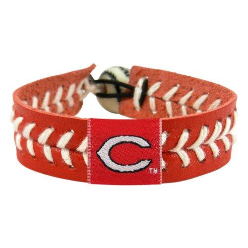 Cincinnati Reds Team Color Gamewear MLB Leather Baseball Bracelet