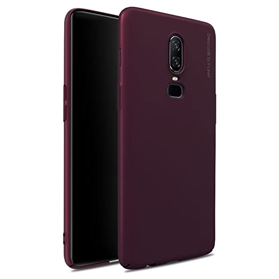 designer fashion cf945 27d42 X-level OnePlus 6 Case, [Knight Series] Slim Fit Phone Shell Hard Plastic  Anti-Scratch Back Cover Case for OnePlus 6 - WineRed