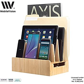 MobileVision Bamboo Charging Station & Multi Device Organizer Slim Version for Smartphones, Tablets, and Laptops