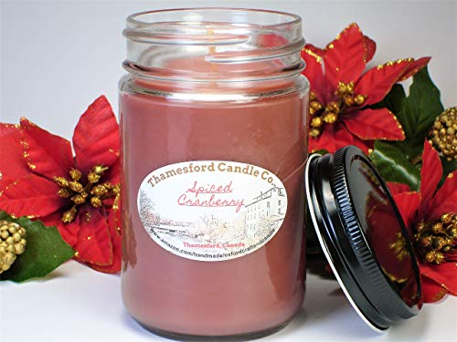 Spiced Cranberry Scented Soy 12oz Jar Candle - Hand Poured in Thamesford, Canada ()