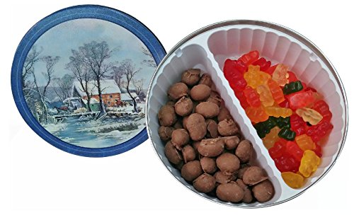 Decorative Candy Filled Tin (Gummie Bears and Double Dipped Chocolate Covered Peanuts, 1 lb)