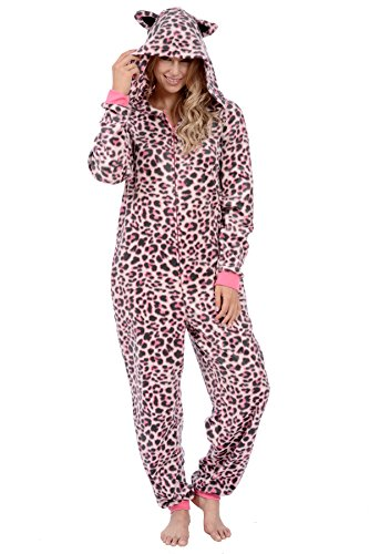 Body Candy Women's Sherpa Character Onesies (Pink Leopard, Medium)