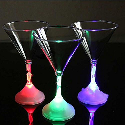 BigFamily Led Flashing Red Wine Cup Color Changing Light Bar KTV Water Cocktail Cups Glass