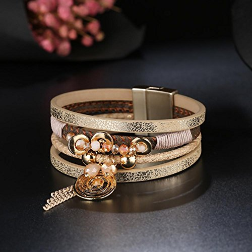 Geometric Pattern Bracelet PU Buckle Magnetic Coffee Rhinestone Alloy Gowind6 Leather Yqwa1W0