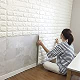 20PCS 3D Brick Wall Stickers PE Foam Self-adhesive Wallpaper Peel and Stick 3D Art Wall Panels for Living Room Bedroom Background Wall Decoration(White)