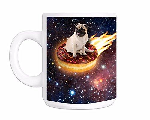 (Printed Mug and Coffee Cups Space Doughtnut Pug Funny Mugs Novelty Gift Idea)