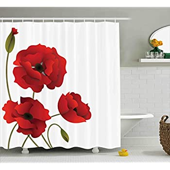 Floral Shower Curtain By Ambesonne Poppy Flowers Vivid Petals With Buds Pastoral Purity Mother Earth