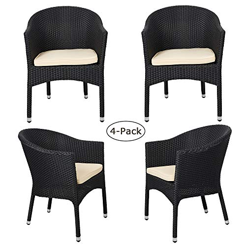 LUCKYERMORE 4-Pack Rattan Patio Chairs Home Furniture Stackable Wicker Dining Chair with Cushion, All Weather Outdoor Garden Balcony Backyard, Black