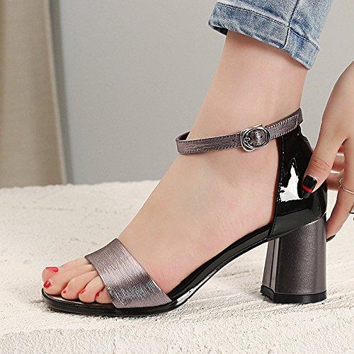 Zapatos gris Treinta AJUNR de pies 7 hebillas los zapatos Sandalias tacon Transpirable Moda 34 salvaje y mujer ocho cm de Heels elegante rough dedos alto 1qT614