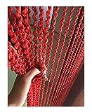 Eyotool 39''x78'' Door String Spiral Curtain Rare Flat Thread Fringe No Convolved Window Panel Room Divider Fashion & Creative Decorative Strip Tassel (Crimson)