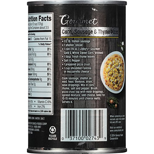 Libby's Gourmet Gold & White Whole Kernel Corn, 15 Ounce Cans (Pack of 12)